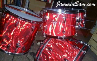 Photo of Jon Glenn's Ludwig drums with Red Satin Flame drum wrap (83)