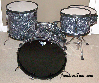 Photo of Randy Workman's Apollo drums with Sea Shell Pearl drum wrap (24)