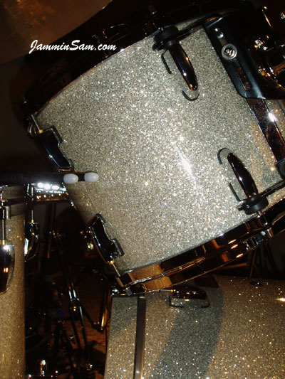 Photo of Bill Heitman's Pearl drumset with Silver Glass Glitter drum wrap (12)