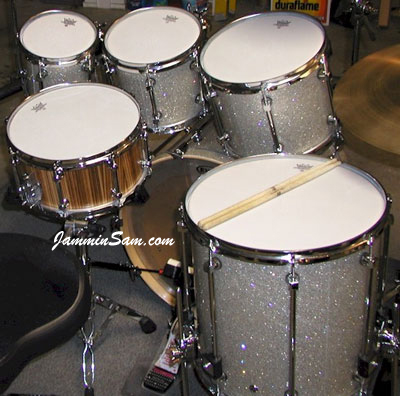 Photo of Dan Hertlein's Premier drums with Silver Glass Glitter drum covering (3)