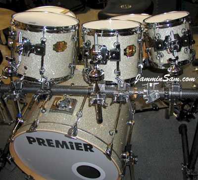 Photo of Dan Hertlein's Premier drums with Silver Glass Glitter drum wrap