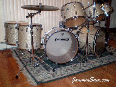 Photo of Donnie Augello's Ludwig drum set with Silver Glass Glitter drum covering (6)