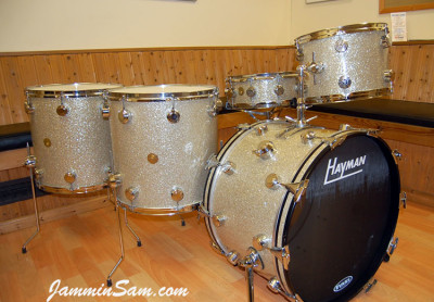 Photo of Haydn Brassington's Hayman drum set with Silver Glass Glitter drum material (2)