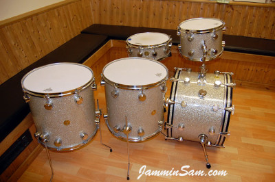 Photo of Haydn Brassington's Hayman drumset with Silver Glass Glitter drum wrap (3)