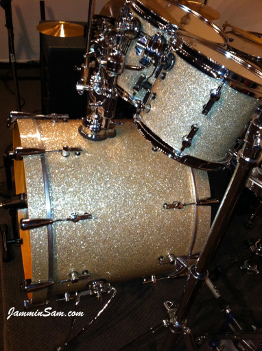 Photo of Jason Benge's drums with Silver Glass Glitter drum material (203)
