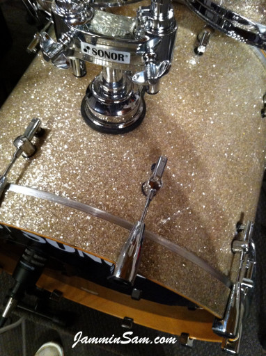 Photo of Jason Benge's drums with Silver Glass Glitter drum covering (204)