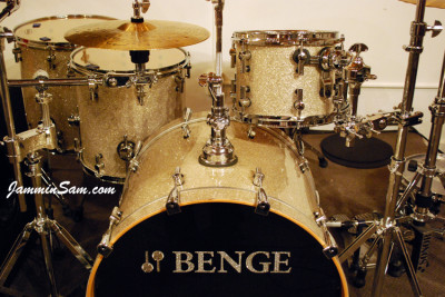 Photo of Jason Benge's drums with Silver Glass Glitter drum wrap (251)