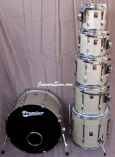 Photo of Peter Hopkins's Premier drum set with Silver Glass Glitter drum wrap