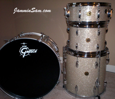 Photo of Steve Boyle's Gretsch drum kit with Silver Glass Glitter drum wrap (2)
