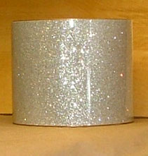 Drum Wrap Material: Example of Silver Glass Glitter on a drum shell also known as crushed glass.