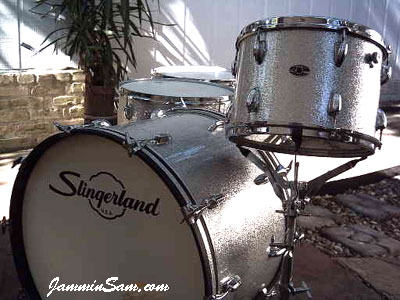 Photo of Blaine Matera's Slingerland drum set with Silver Vintage Sparkle drum wrap
