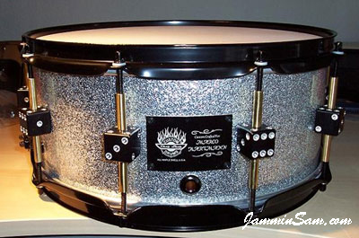 Photo of Brian Cocivera's snare drum with Silver Vintage Sparkle drum wrap