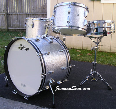 Photo of Carl Liano's Ludwig drums with Silver Vintage Sparkle drum wrap