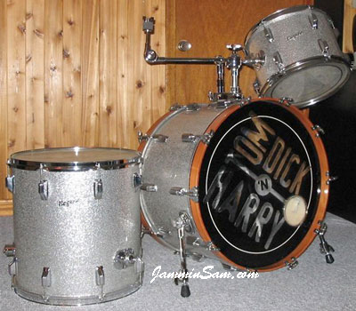 Photo of Chris Tuttle's Rogers drums with Silver Vintage Sparkle drum wrap