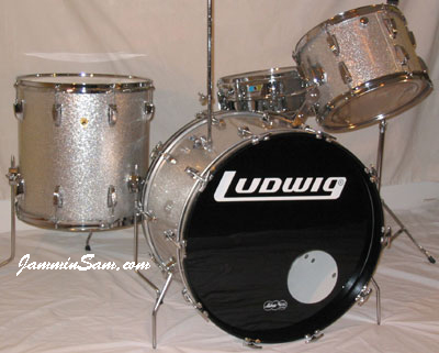 Photo of Garth Grob's Ludwig drum set with Silver Vintage Sparkle drum wrap