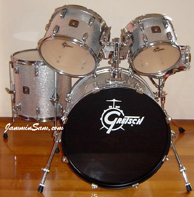 Photo of Graham Elliott's Gretsch drum set with Silver Vintage Sparkle drum wrap (2)