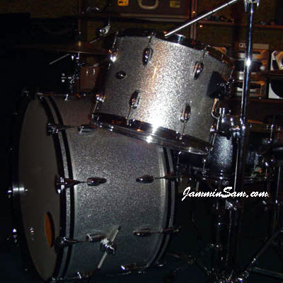 Photo of Jeff Gensterblum's Slingerland drum set with Silver Vintage Sparkle drum wrap