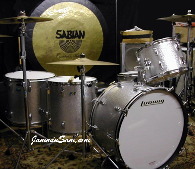 Photo of Joe Jones' Ludwig drums with Silver Vintage Sparkle drum wrap