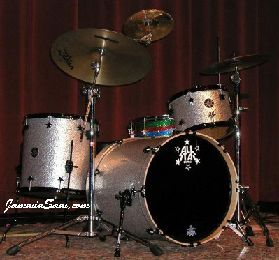 Photo of John Langdon's drums with Silver Vintage Sparkle drum wrap