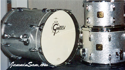 Photo of Kevin Hernandez's Gretsch drum kit with Silver Vintage Sparkle drum wrap