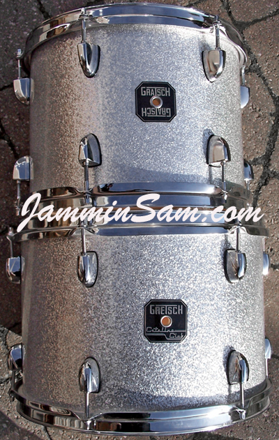 Photo of Rick Bours' Gretsch drums with Silver Vintage Sparkle drum wrap (1)