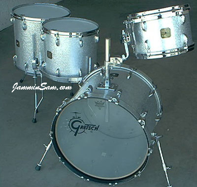 Photo of Rob Schuh's Gretsch set with Silver Vintage Sparkle drum wrap