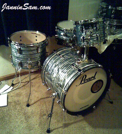 Photo of Billy Hammond's drums with Vintage Sky Blue Pearl drum wrap (1)