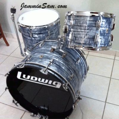Photo of Carlos Ortiz's Ludwig drums with Vintage Sky Blue Pearl drum wrap (3)
