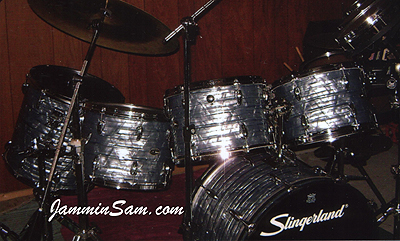 Photo of Don Turcotte's drums with Vintage Sky Blue Pearl drum wrap (2)