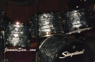 Photo of Don Turcotte's drums with Vintage Sky Blue Pearl drum wrap (3)
