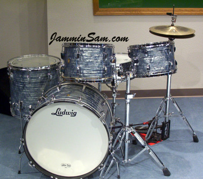 Photo of John Hamman's Ludwig drums with Vintage Sky Blue Pearl drum wrap (1)