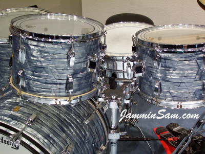 Photo of John Hamman's Ludwig drums with Vintage Sky Blue Pearl drum wrap (2)