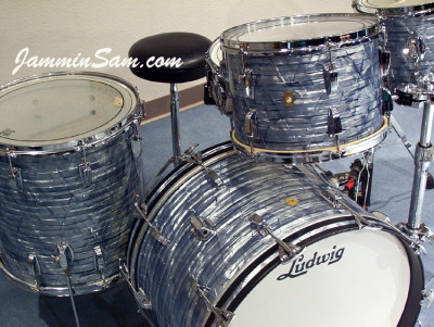 Photo of John Hamman's Ludwig drums with Vintage Sky Blue Pearl drum wrap (3)