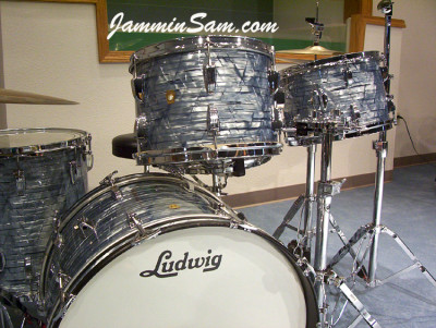 Photo of John Hamman's Ludwig drums with Vintage Sky Blue Pearl drum wrap (4)