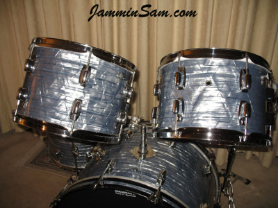 Photo of Kevin Anderson's Ludwig drum set with Vintage Sky Blue Pearl drum wrap (2)