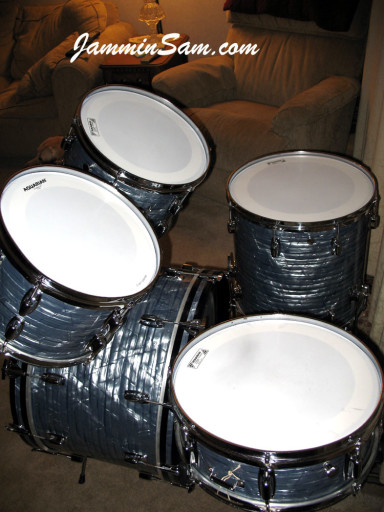 Photo of Kevin Anderson's Ludwig drum set with Vintage Sky Blue Pearl drum wrap (3)