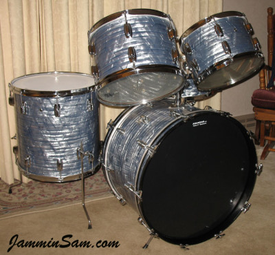 Photo of Kevin Anderson's Ludwig drum set with Vintage Sky Blue Pearl drum wrap (4)