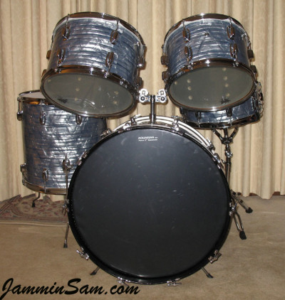 Photo of Kevin Anderson's Ludwig drum set with Vintage Sky Blue Pearl drum wrap (6)