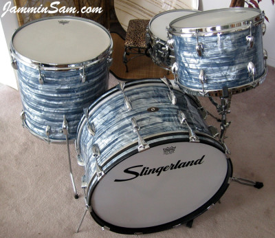 Photo of Tim Gordon's Slingerland drums Vintage Sky Blue Pearl drum wrap (61)