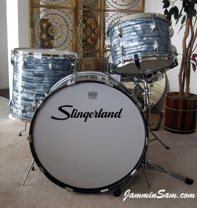 Photo of Tim Gordon's Slingerland drums Vintage Sky Blue Pearl drum wrap (65)