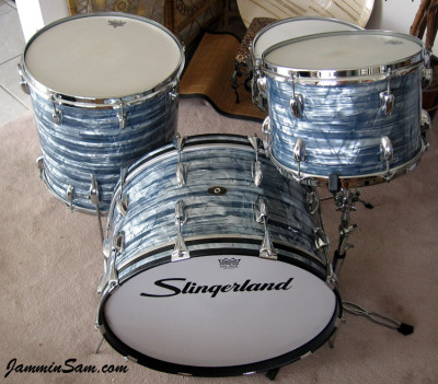 Photo of Tim Gordon's Slingerland drums Vintage Sky Blue Pearl drum wrap (66)