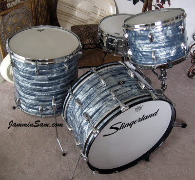 Photo of Tim Gordon's Slingerland drums Vintage Sky Blue Pearl drum wrap (68)