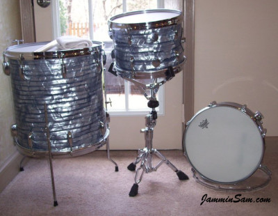 Photo of Tony Scocozza's Gretsch drums with Vintage Sky Blue Pearl drum wrap (845)