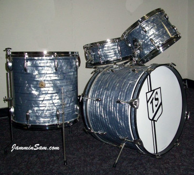 Photo of Tony Scocozza's Gretsch drums with Vintage Sky Blue Pearl drum wrap (952)