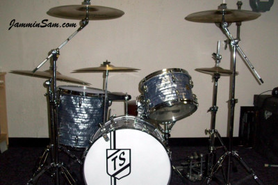 Photo of Tony Scocozza's Gretsch drums with Vintage Sky Blue Pearl drum wrap (966)