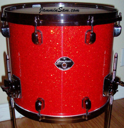 Photo of Ernest Soto's Tama floor tom with Super Tangerine Glass Glitter drum wrap (4)