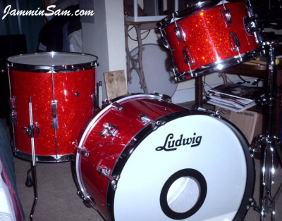Photo of Dan Deming's Ludwig drumset with Super Tangerine Glass Glitter drum wrap (3)