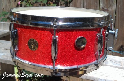Photo of Mark Crowson's tom drum with Super Tangerine Glass Glitter drum wrap (80)