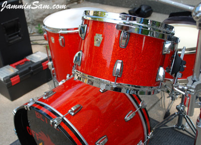 Photo of Stewart Surgener's Ludwig drums with Super Tangerine Glass Glitter drum wrap (2)