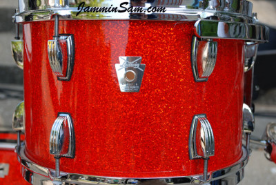 Photo of Stewart Surgener's Ludwig tom with Super Tangerine Glass Glitter drum wrap (3)